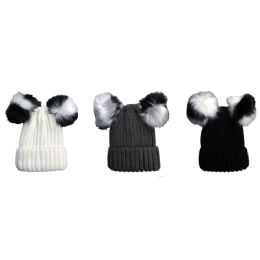 3 Units of Yacht & Smith Womens 3 Inch Double Pom Pom Ribbed Beanie Hat, Assorted Colors Value Pack - Winter Beanie Hats