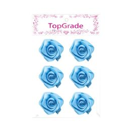 144 Units of Satin Flower Baby Blue - Arts & Crafts