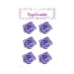 144 Units of Satin Flower Purple - Arts & Crafts