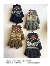 144 Units of Mens Wool Blend Winter Gloves Snowflake Design - Knitted Stretch Gloves