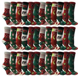 36 Units of Christmas Printed Socks, Fun Colorful Festive, Crew, Sock Size 9-11 - Womens Knee Highs