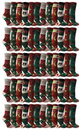 60 Units of Christmas Printed Socks, Fun Colorful Festive, Crew, Sock Size 9-11 - Womens Knee Highs