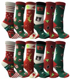 12 Units of Christmas Printed Socks, Fun Colorful Festive, Crew, Sock Size 9-11 - Womens Knee Highs