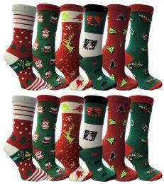 12 Units of Christmas Printed Socks, Fun Colorful Festive, Crew, Sock Size 9-11 - Womens Knee Highs