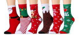 6 Units of Women Christmas Fun Colorful Printed Holiday Socks (Assorted 6 Pack Non Skid/Gripper Bottom - Womens Crew Sock