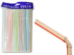 48 Units of 200pc Flexible Plastic drinking Bendy Straws - Straws and Stirrers