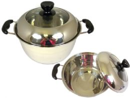 24 Units of Stainless Steel Two Handled Pot - Stainless Steel Cookware