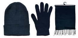 72 Units of 3 Piece Unisex Winter Set, Hat Glove And Scarf Sets Solid Black - Winter Care Sets