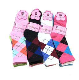 36 Units of Three Pair Ladies Crew Sock Bright Argyle - Womens Crew Sock