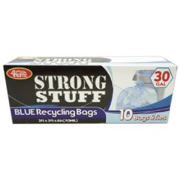 96 Units of Blue Recycle Bag Thirty Gallon Ten Count - Garbage & Storage Bags