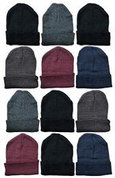12 Units of SOCKS'NBULK Mens Womens Warm Winter Hats in Assorted Colors, Mens Womens Unisex (Assorted Solids (B)) - Winter Hats