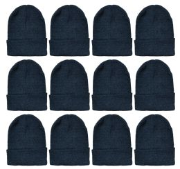 12 Units of Yacht & Smith Unisex Winter Warm Beanie Hats In Solid Black - Winter Hats