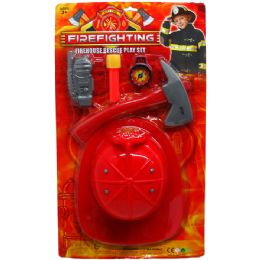 24 Units of Fire Fighter Play Set With Helmet On Blister Card - Action Figures & Robots