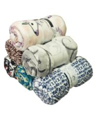 24 Units of Assorted Printed Fleece Blankets Size 50 x 60 - Fleece & Sherpa Blankets