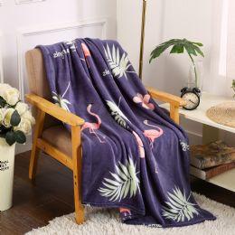 24 Units of Navy Flamingo Printed Blankets Size 50 x 60 - Fleece & Sherpa Blankets