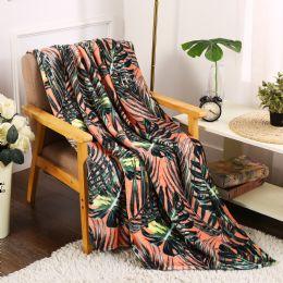 24 Units of Leaf Printed Fleece Blankets Size 50 x 60 - Fleece & Sherpa Blankets
