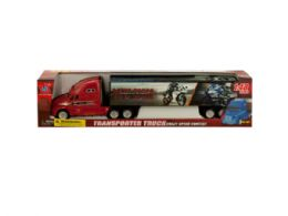 12 Units of Friction Powered Trailer Truck with Motorcycle Decals - Cars, Planes, Trains & Bikes