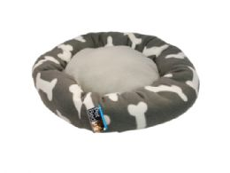 6 Units of Round Grey Bone Print Pet Bed - Pet Accessories