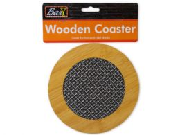 72 Units of Round Wooden Coaster with Basket Weave Pattern - Coasters & Trivets