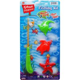48 Units of Gone Fishing Play Set With Rod On Card - Summer Toys