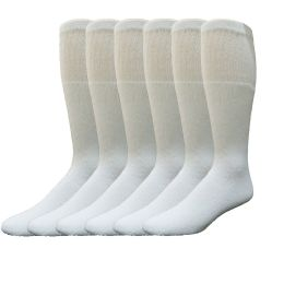 6 Units of Yacht & Smith Women's Cotton Tube Socks, Referee Style, Size 9-15 Solid White - Women's Tube Sock