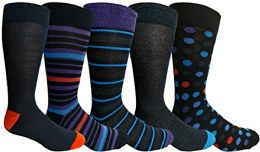 Yacht&Smith 5 Pairs of Mens Dress Socks, Colorful Fun Pattern Design, Casual (Assorted E) - Mens Dress Sock