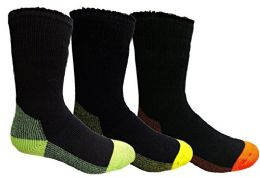 3 Units of Yacht&Smith 3 Pairs Mens Brushed Socks, Warm Winter Thermal Crew Sock - Mens Thermal Sock