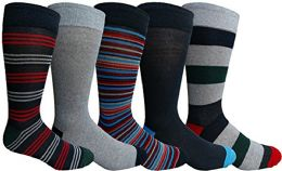 Yacht & Smith 5 Pairs of Mens Dress Socks, Colorful Fun Pattern Design, - Mens Dress Sock