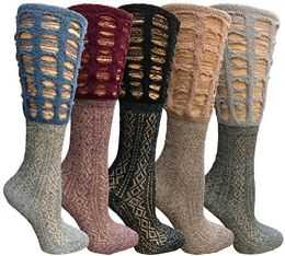 5 Units of Yacht & Smith 5 Pairs Ruffle Slouch Socks For Women - Womens Ankle Sock