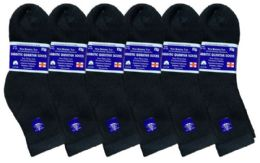 6 Units of Yacht & Smith Women's Diabetic Cotton Ankle Socks Soft Non-Binding Comfort Socks Size 9-11 Black - Women's Diabetic Socks
