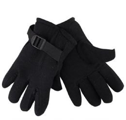 36 Units of Mens Black Fleece Winter Gloves - Fleece Gloves