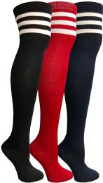 3 Units of Yacht & Smith Womens Over The Knee Socks, Referee Style Thigh High Knee Socks , Striped Red, Navy, Black - Womens Over the knee sock
