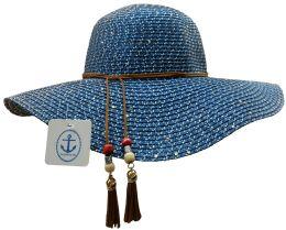 Yacht & Smith Floppy Stylish Sun Hats Bow And Leather Design, Style A - Navy - Sun Hats