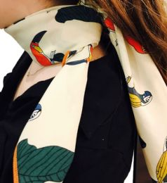 Yacht&smith Neck Scarf With Buckle, 50s Style Retro, Vintage Tie Shawl Wrap (parrots) - Womens Fashion Scarves