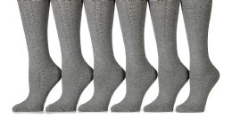 6 Units of 6 Pack Yacht&smith Womens Knee High Socks, Comfort Soft, Solid Colors (gray) - Womens Knee Highs