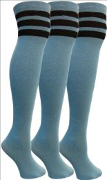 3 Units of Yacht&smith Womens Over The Knee Socks, 3 Pairs Soft, Cotton Colorful Patterned (3 Pairs Copper Blue) - Womens Knee Highs