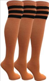 3 Units of Yacht&Smith Womens Over the Knee Socks, 3 Pairs Premium Soft, Cotton Colorful Patterned (3 Pairs Orange) - Womens Knee Highs