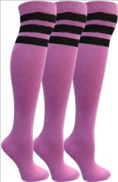 3 Units of Yacht&smith Womens Over The Knee Socks, 3 Pairs Soft, Cotton Colorful Patterned (3 Pairs Pink) - Womens Knee Highs