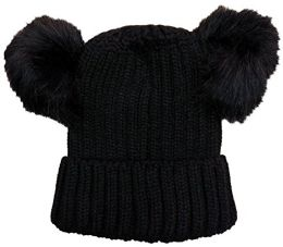 4 Units of Yacht & Smith 4 Pack of Womens Double Pom Pom Beanie Hat, Winter Cable Knit Hat, Warm Cap (Black) - Winter Beanie Hats