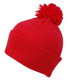 24 Units of BEANIES WITH POMPOM IN RED - Fashion Winter Hats