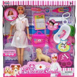 24 Units of NURSE EMILY DOLL WITH A PET AND ACCESSORIES IN WINDOW BOX - Dolls