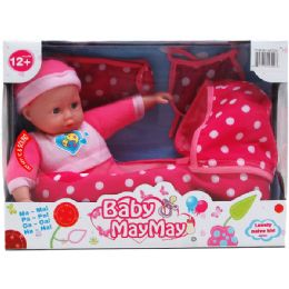 12 Units of BABY DOLL WITH SOUND AND CRIB IN WINDOW BOX - Dolls