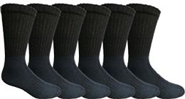 6 Units of Mens AntI-Microbial Crew Socks, Comfort Knit Ringspun Cotton, Terry Lined, (6 Pack Black) - Mens Crew Socks