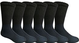 6 Units of Mens Anti-Microbial Crew Socks, Comfort Knit Ringspun Cotton, Terry Lined (6 Pack Navy) - Mens Crew Socks