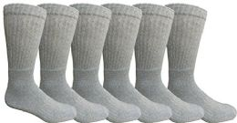 6 Units of Mens AntI-Microbial Crew Socks, Comfort Knit Ringspun Cotton, Terry Lined (6 Pack Gray) - Mens Crew Socks