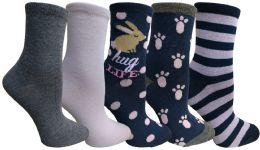 Yacht&smith 5 Pairs Of Womens Crew Socks, Fun Colorful Hip Patterned Everyday Sock (color Prints k) - Womens Crew Sock