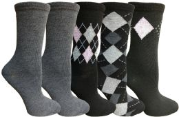 Yacht&smith 5 Pairs Of Womens Crew Socks, Fun Colorful Hip Patterned Everyday Sock (assorted Argyle f) - Womens Crew Sock