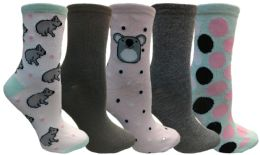 Yacht&smith 5 Pairs Of Womens Crew Socks, Fun Colorful Hip Patterned Everyday Sock (color Prints i) - Womens Crew Sock