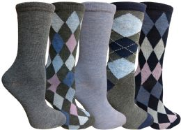 Yacht&smith 5 Pairs Of Womens Crew Socks, Fun Colorful Hip Patterned Everyday Sock (assorted Argyle d) - Womens Crew Sock