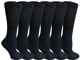 6 Units of Womens AntI-Microbial Crew Socks, Comfort Knit Ringspun Cotton, Terry Lined, Soft (6 Pack Navy) - Womens Crew Sock
